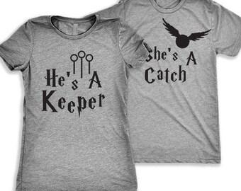 He's A Keeper, She's A Catch   Matching Shirts