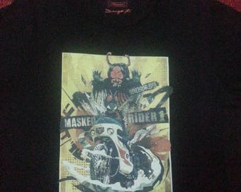 Rare anime manga supersentai masked rider 1 collaborate with dragon 76 t-shirt / XL / kamen rider / ultraman / bandai