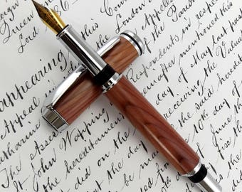 English Purple Yew Highbrook II Fountain Pen in Chrome (1067)