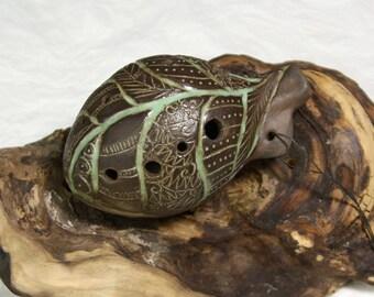 Handmade ceramic ocarina D-dur, traditional instrument, 8 holes
