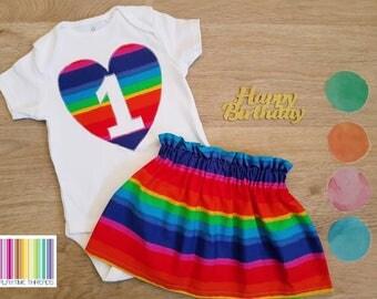 Girls First Birthday Outfit, Girls Cake Smash, Size 0 Girls Onesie / Bodysuit & Skirt Outfit, 1st Birthday, Rainbow Birthday Set