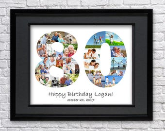Digital File 80 Anniversary Gifts Number Photo Collage Eighty Birthday Custom Photo Collage Art Photo Collage Gift 80th Birthday 80th Art