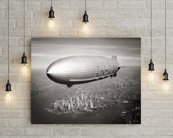 New York City Photograph, Navy, Airship, Dirigible over Manhattan, NYC, 1931