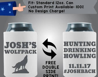 Josh's Wolfpack Hunting Drinking Howling Date #Joshback Neoprene Wedding Can Cooler Double Side Print (Bach53)