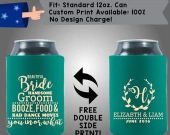 Beautiful Bride Handsome Groom Booze Food and Bad Dance Moves Collapsible Fabric Wedding Cooler Double Side Print (W376)