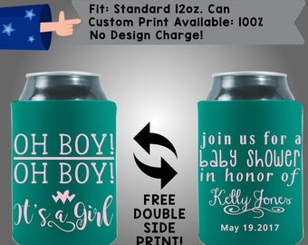 Oh Boy! Oh Boy! It's a girl! Join us for a baby shower in honor of Name Collapsible Neoprene Baby Shower Cooler Double Side Print (BS25)