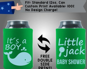 It's a Boy! Little Name Gender Reveal Baby Shower Collapsible Fabric Baby Shower Can Cooler Double Side Print (BS126)
