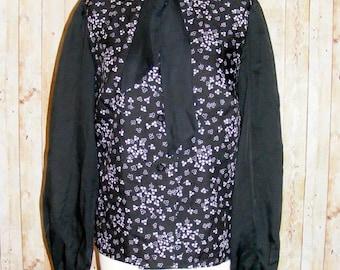 Size 14 vintage 60s tie neck loose blouse l/slv black/white floral print (HK75)