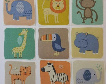 Set of 9 jungle animals iron on fabric motifs/embellishments/patches