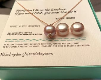 FREE SHIPPING!! Mother Daughter, Wifey, Best friend AAA Necklace 825 Sterling Silver Lavender, Light Pink/Peach Genuine Freshwater Pearl
