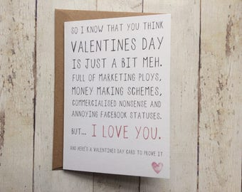 Valentines day card // Valentines day is a bit meh // Anti-valentines day card // Love card // Husband Wife card //Boyfriend Girlfriend card