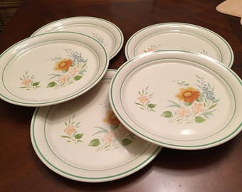Corelle Glenora Set of 5 Dinner Plates Corner Stone by Corning Peach and Blue Floral