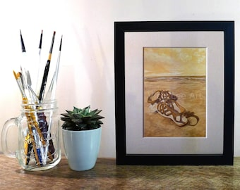 Sandals on the Beach PRINT, Beach Wall Art, Seascape with Sandals in Sepia Colours Acrylic Painting Print, Original Artwork,