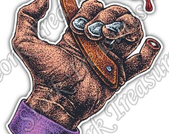 Handle Straight Shaving Razor Finger Car Bumper Vinyl Sticker Decal