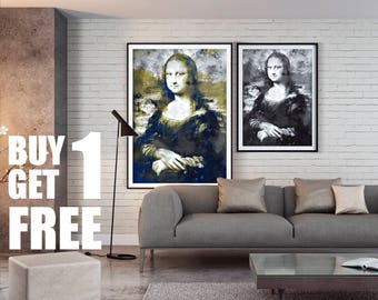 Mona Lisa, Gioconda, Leonardo da Vinci, Wall Art, Instant Download Printable Art, Digital Art, Watercolor Print, Blue Print, Black&White,