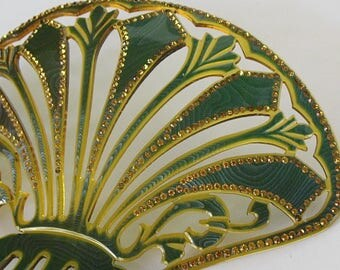 """Antique Hair Comb 1900-1920 Teal Moiré Large Showy Open Carved Fan w Amber Rhinestones 6.75"""" Hair Decoration Hair Ornament"""