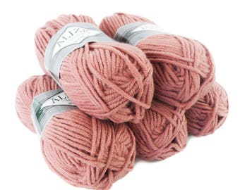 5 x 100 g yarn ALIZE SUPERLANA MAXI 25% wool, #173 old rose
