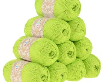 10 x 50 g crochet / Knitting yarn ALIZE FOREVER, #612 acidgrün