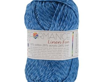 10 x 50 g knitting wool linen fun #100 Blue