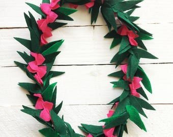 Hot Pink Felt Lei | Moana | Lei for women | Flower and Leaf lei | Hawaiian Lei | Tropical Party
