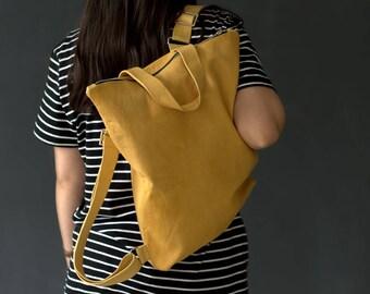 Leather Rucksack Backpack - College Handmade Soft Shoulder Bag - Handcrafted School Bag - Women Backpack - Minimalist Handbag - Laptop Bag