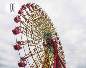 ferris wheel kobe digital print,japan image,kobe photo,ferris wheel poster,sky and ferris wheel,red,image,digital download,kobe photography