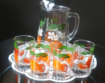 Vintage Breakfast Juice Pitcher and Tumblers