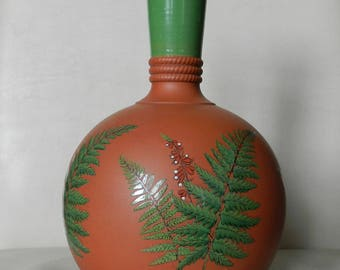 Antique Watcombe Devon Pottery terracotta gourd vase ferns