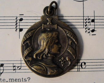 Antique French Joan of Arc Sliding Religious Medal / Pendant with Hair c1920