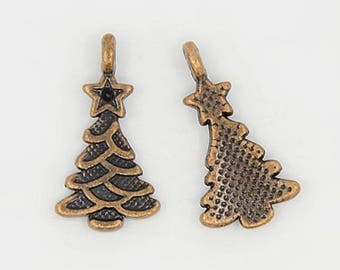 10pcs , Christmas Tree Charm/ Christmas Charms / Pendant In Red Copper