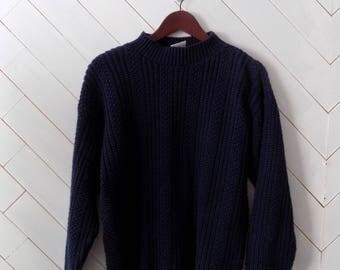 Blue Cable Knit Fishermans's Sweater  Vintage 1980's Bobbi Brooks    S M L