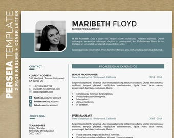 Professional Resume Template /CV Template | Word Resume Design + Cover Letter | Modern Curriculum Vitae, Instant Download | Perseia