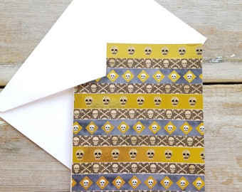 Skull Card - Washi Tape Card - Metallic Cards - Halloween Skull - Skeleton Card - Halloween Greeting Card - Skull Greeting Card