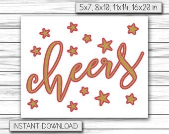 Cheers Sign, Cheers Wedding Bar Sign Wedding Sign, Wedding Bar Decor, Wedding Cheers Sign, Wedding Reception Signs, Printable DIGITAL FILE