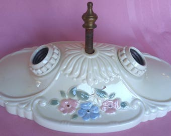 Vintage 1930s Wall Mount LIGHT FIXTURE white w/ floral emossing