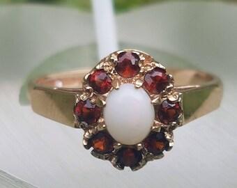 Garnet & Opal 9ct Gold Ring