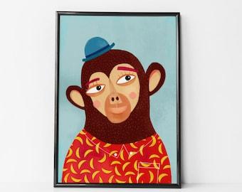 MONKEY Wall Art, monkey decor for nursery, monkey nursery, Monkey Playroom Pictures, baby monkey, Monkey Nursery Art, monkey nursery print