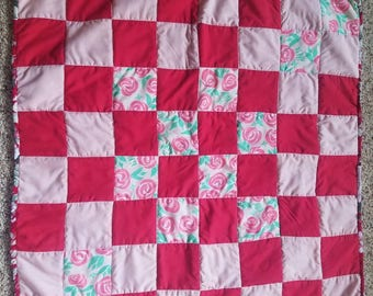Infant Quilt // Baby Quilt //Small Quilt // 2ft x 2ft // Red with Roses