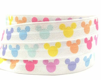 Rainbow Mickey LLR Lula Fold Over Elastic Ribbon FOE Headband Hair Ties 5/8 inch