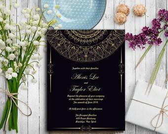 Unique Victorian Wedding Invitation Template Inexpensive| Inexpensive Printable Wedding Invitations | Royal Wedding Invitations Personalized