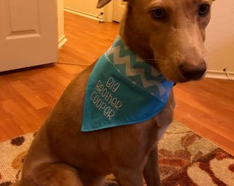 Reversible Big Brother Dog bandana, New Baby Over the collar bandana, Personalized bandana,Pregnancy announcement,Teal Chevron bandana