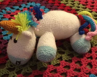 Rainbow Bright - Handmade Soft and Cuddly White Unicorn crochet toy - ready to dispatch