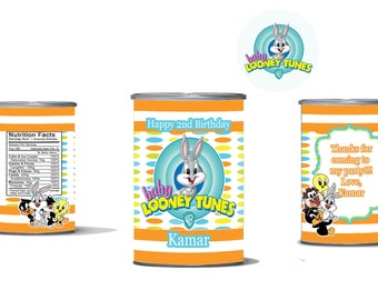Baby Looney Tunes Pringle Can And Custom Lid For Your Birthday Or Baby  Shower