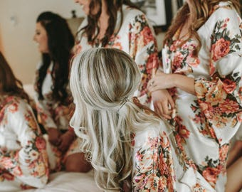 Bridesmaid Robes-3 Floral Bridesmaids Robes for your party of three- Available Monogramming