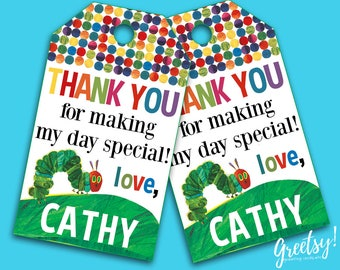 The Very Hungry Caterpillar Thank You Tags, The Very Hungry Caterpillar Birthday Favor Tags, The Very Hungry Caterpillar Birthday Party Tags