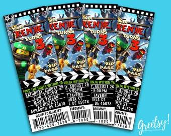 Ninjago Invitation, Ninjago Birthday, Ninjago Party, Lego Ninjago Invites, Ninjago Prints, Lego Ninjago Movie Ticket, Lego Ninjago Movie