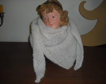 White mohair wool scarf