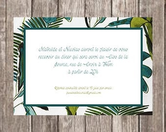 Invitation card party tropical foliage