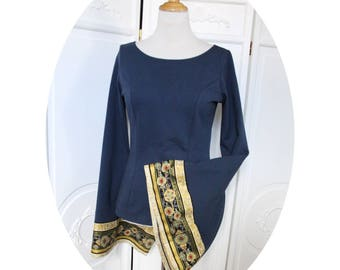 Tunic shirt blue cotton Jersey tunic blue boat neck tunic style medieval mesh blue tshirt, blue top large sleeves