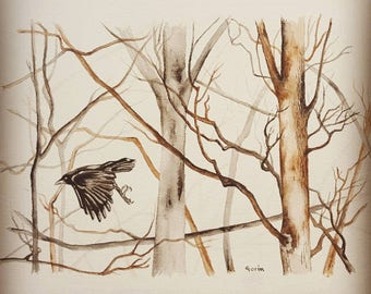THE LAST LEAVES, watercolor, woods, wall art, homedecor, tree, paper, lámina, acuarela, original artwork, crow, flying, cuervo, mother's day